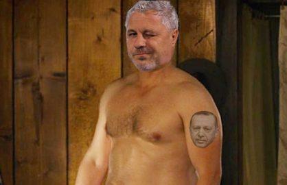 Dupa ce l-a tot laudat pe Erdogan, Sumudica si-a facut si tatuaj cu chipul presedintelui Turciei